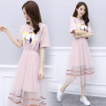 Dress Summer 2020 Blue, pink S,M,L,XL,2XL Mid length dress Two piece set Short sleeve commute Crew neck High waist routine bow 71% (inclusive) - 80% (inclusive) other