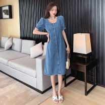 Women's large Summer 2020 Select high quality denim fabric, short open back, long open back, short no open back, long no open back, lace splicing S,M,L,XL,2XL,3XL,4XL Dress singleton  commute easy moderate Socket Short sleeve Solid color Korean version square neck Denim routine Medium length