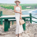 Dress Summer 2020 white L,M,S longuette singleton  Sleeveless Sweet other middle-waisted Solid color zipper One pace skirt camisole Type H Open back, lace 31% (inclusive) - 50% (inclusive) Lace Bohemia