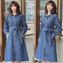 Dress Spring 2021 blue S,M,L longuette singleton  Long sleeves commute Polo collar High waist Solid color Single breasted A-line skirt routine Others 18-24 years old Type A Other / other Korean version Pocket, lace up 51% (inclusive) - 70% (inclusive)