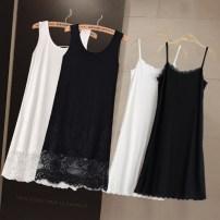 Dress Summer 2021 S,M,L,XL,2XL,3XL Miniskirt singleton  Sleeveless commute Crew neck High waist Solid color A-line skirt straps Type A Korean version Splicing 71% (inclusive) - 80% (inclusive) Lace