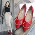 Low top shoes 35 36 37 38 39 40 Ding Dong lover Red, black, apricot Sharp point Flat bottom PU Shallow mouth Flat heel (1cm or less) PU Autumn of 2018 Trochanter Korean version Adhesive shoes Youth (18-40 years old) Solid color TPR (tendon) Single shoes Shallow metal decoration PU Face dressing One