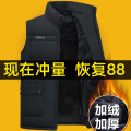 Vest / vest Fashion City Laodou L XL 2XL 3XL 4XL Mj01 Plush thickening (black) mj01 Plush thickening (Navy) go to work easy Cotton vest Plush and thicken autumn stand collar middle age 2020 Business Casual A-MJ01 Solid color zipper Straight hem polyester fiber New polyester fiber 100% Autumn of 2019