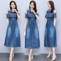 Dress Summer 2020 Picture color S,M,L,XL,2XL,3XL longuette singleton  Short sleeve commute Polo collar middle-waisted Solid color Socket Ruffle Skirt routine Others Type A Korean version Pocket, lace up, button AG4 71% (inclusive) - 80% (inclusive) Denim other
