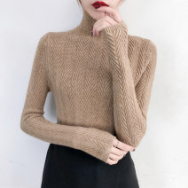 sweater Winter of 2018 S M L XL High collar blue high collar black high collar light coffee high collar dark grey high collar white low collar light card low collar black low collar blue low collar dark grey low collar white Long sleeves Socket singleton  Regular other 95% and above High collar