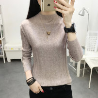 sweater Autumn of 2019 S M L XL White black Khaki grey light coffee Long sleeves Socket singleton  Regular other 95% and above Half high collar Regular routine Solid color Straight cylinder Regular wool Keep warm and warm 25-29 years old Bubble beauty PMMR1909002 Other 100%