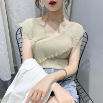 Wool knitwear Spring 2021 S M L XL Apricot Pink Blue White Black Short sleeve singleton  Socket other More than 95% Regular Thin money commute Self cultivation V-neck routine Solid color Socket Korean version GD-20CX0090# 25-29 years old Bubble beauty Patchwork lace Other 100%