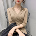 Wool knitwear Spring 2021 S M L XL Light coffee white black three quarter sleeve singleton  Socket other More than 95% Regular routine commute Self cultivation tailored collar routine Solid color Socket Korean version PMMR2103077 25-29 years old Bubble beauty Asymmetric splicing thread Other 100%