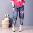 Women's large Summer 2021 S M L XL XXL 3XL 4XL trousers Sweet easy moderate Cartoon animation Denim Three dimensional cutting Shimeizhi 18-24 years old Embroidery Cotton 80% viscose 11% polyester 9% Pure e-commerce (online only) Ninth pants Countryside