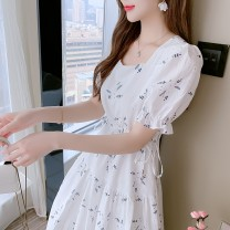 Dress Summer 2021 White blue S M L XL Mid length dress singleton  Short sleeve commute square neck middle-waisted Decor Socket A-line skirt routine Others 25-29 years old Type A Yunmi Flower Fairy Korean version Pleating 1929S More than 95% other polyester fiber 100.00% polyester