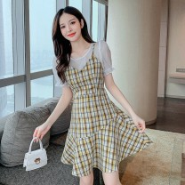 Dress Summer 2021 Yellow and green S M L XL Middle-skirt Fake two pieces Short sleeve commute Crew neck High waist lattice Socket A-line skirt bishop sleeve camisole 25-29 years old Type A Yunmi Flower Fairy Korean version Splicing 9192S More than 95% other polyester fiber 100.00% polyester