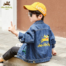 Plain coat Devildog male 110cm 120cm 130cm 140cm 150cm 160cm Blue (2021 new jeans coat, son is very handsome, suitable for spring wear) black (2021 new jeans coat, son is very handsome, suitable for spring wear) spring and autumn leisure time Single breasted There are models in the real shooting