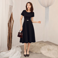 Dress Spring of 2019 Black 022 S M L XL XXL Mid length dress singleton  Short sleeve commute Crew neck middle-waisted Solid color zipper Big swing routine 25-29 years old Type A Nine sisters Retro JM19022 More than 95% other polyester fiber Polyester 95% polyurethane elastic fiber (spandex) 5%