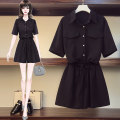 Women's large Summer 2020 Black nude XL 2XL 3XL 4XL 5XL Dress Two piece set commute easy thin Cardigan Short sleeve Solid color Korean version Polo collar routine polyester Three dimensional cutting routine IXTT23050 Magic shield 25-29 years old Medium length Other 100% Pure e-commerce (online only)