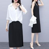 Women's large Summer 2020 Picture color L XL 2XL 3XL 4XL 5XL Dress Two piece set commute easy moderate Socket Short sleeve Solid color Korean version other Medium length other Three dimensional cutting other Magic shield 25-29 years old Medium length Other 100% Pure e-commerce (online only) other