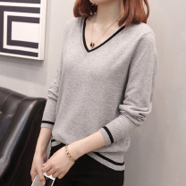 Women's large Autumn of 2019 Black white grey XL recommended 95-130 kg, 2XL recommended 135-165 kg, 3XL recommended 170-200 kg Knitwear / cardigan singleton  commute easy moderate Socket Long sleeves Solid color Korean version V-neck routine Polyester cotton others Three dimensional cutting routine
