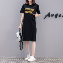 Women's large Summer 2021 black M L XL 2XL 3XL 4XL Dress singleton  commute easy moderate Socket Short sleeve letter Korean version Hood Medium length cotton Three dimensional cutting routine Magic shield 25-29 years old pocket longuette Other 100% Pure e-commerce (online only)