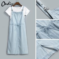Dress Spring 2020 Light color back belt skirt S M L XL XXL Mid length dress singleton  Sleeveless Sweet High waist Solid color One pace skirt straps 25-29 years old Odiz A01-3.31 More than 95% cotton Cotton 100% Lolita Pure e-commerce (online only)
