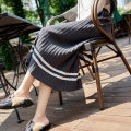 skirt Autumn of 2018 SMLXL Black dark grey brown Mid length dress commute High waist Pleated skirt Solid color Type A 25-29 years old MJN180815ZB2 knitting Majeno Striped pleated thread printing Retro Viscose (viscose) 57% others 43%