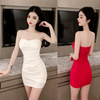 Dress Spring 2021 White, black, red, blue S,M,L Short skirt singleton  Sleeveless commute One word collar High waist Solid color Socket Pencil skirt routine camisole 18-24 years old Type H Korean version backless other other