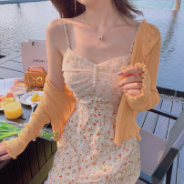 Dress Summer 2021 Yellow cardigan + floral suspender skirt floral suspender skirt S M L XL longuette Two piece set Sleeveless commute other High waist Broken flowers Socket Big swing other camisole 18-24 years old To knock literature More than 95% polyester fiber Polyester 100%