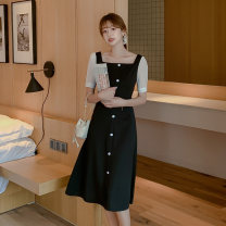 Dress Summer 2020 black S M L XL XXL Mid length dress singleton  Short sleeve commute square neck High waist Solid color Single breasted A-line skirt 25-29 years old Neusier Button L1466RX More than 95% polyester fiber Polyester fiber 94.9% polyurethane elastic fiber (spandex) 5.1%