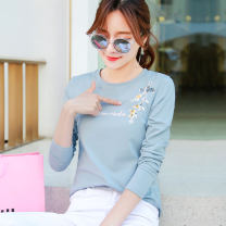 T-shirt M L XL XXL Spring 2021 Long sleeves Crew neck Straight cylinder Regular routine commute cotton 86% (inclusive) -95% (inclusive) 25-29 years old Korean version originality Letters for plants and flowers Shishangjf / Fashion liberation q6851 printing Pure e-commerce (online only)
