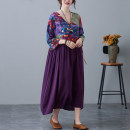 Women's large Spring 2021, summer 2021, autumn 2021 Purple, blue M. Large L, large XL, 2XL Dress singleton  commute easy thin Socket elbow sleeve Decor literature V-neck Medium length Cotton, hemp, others printing and dyeing routine 51% (inclusive) - 70% (inclusive) Medium length other