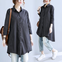 Women's large Spring 2021, autumn 2021 White, black Large L, large XL shirt singleton  commute easy thin Cardigan Long sleeves Solid color literature Polo collar Medium length Three dimensional cutting shirt sleeve Button 51% (inclusive) - 70% (inclusive)
