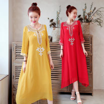 Dress Summer of 2019 Ginger, white, red, black M,L,XL,2XL Mid length dress singleton  elbow sleeve commute Crew neck Loose waist Solid color Socket Big swing routine Others Type A Other / other ethnic style Pocket, embroidery Cotton and linen dress other hemp
