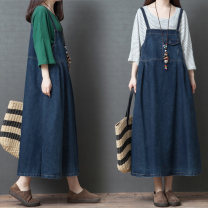Dress Summer of 2019 navy blue M,L,XL Mid length dress singleton  Sleeveless commute One word collar Loose waist Solid color Socket A-line skirt other straps Type A Other / other Korean version pocket other cotton