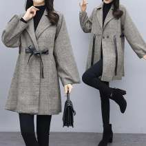 Women's large Winter 2020 Picture color woolen coat singleton  commute easy thick Cardigan Long sleeves lattice Korean version Half open collar Medium length Polyester cotton Three dimensional cutting other Love for children 25-29 years old belt Other 100% Pure e-commerce (online only) bow