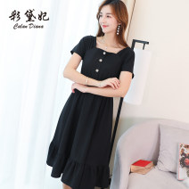 Dress Summer of 2019 Black red S M L XL XXL Middle-skirt singleton  commute High waist Solid color Others 25-29 years old Caidaifei Korean version More than 95% polyester fiber Polyester fiber 95.6% polyurethane elastic fiber (spandex) 4.4%
