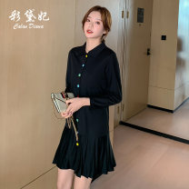 Dress Spring 2020 black S M L XL Short skirt singleton  Long sleeves commute middle-waisted Solid color 25-29 years old Caidaifei Korean version 31% (inclusive) - 50% (inclusive) nylon Viscose (viscose) 55.4% polyamide (nylon) 44.6%