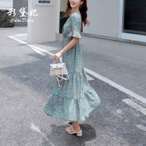 Dress Summer 2020 blue S M L XL Mid length dress singleton  Short sleeve commute V-neck High waist Decor Socket 25-29 years old Caidaifei Korean version GDD411 More than 95% Chiffon polyester fiber Polyester 100%