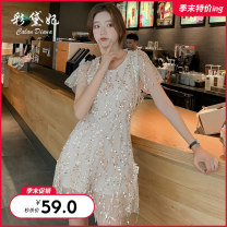 Dress Summer of 2019 S M L Short skirt singleton  commute High waist 25-29 years old Caidaifei Korean version More than 95% polyester fiber Polyester 100%