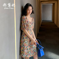 Dress Summer 2020 Pink S M L XL XXL Short skirt singleton  Short sleeve commute V-neck High waist Decor 25-29 years old Caidaifei Korean version L1488RX More than 95% polyester fiber Polyester 100%