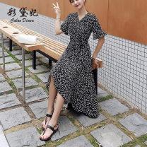 Dress Summer 2020 black S M L XL Mid length dress singleton  elbow sleeve commute V-neck High waist Decor Socket Cake skirt other Others 25-29 years old Caidaifei Korean version GDD908 More than 95% Chiffon polyester fiber Polyester 100%