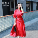 Dress Summer 2020 claret S M L XL XXL Mid length dress singleton  elbow sleeve commute High waist Solid color Lotus leaf sleeve 25-29 years old Caidaifei Korean version More than 95% polyester fiber Polyester 100%