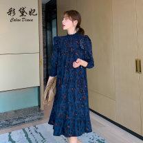 Dress Summer 2020 Navy Blue S M L Mid length dress singleton  three quarter sleeve commute High collar Socket 25-29 years old Caidaifei Korean version L1428RX More than 95% polyester fiber Polyester 100%