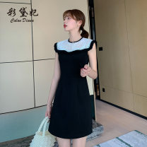 Dress Summer 2020 black S M L XL XXL Short skirt singleton  Sleeveless commute Crew neck High waist Solid color Socket A-line skirt 25-29 years old Caidaifei Korean version Lace L1403RX More than 95% polyester fiber Polyester fiber 94.9% polyurethane elastic fiber (spandex) 5.1%
