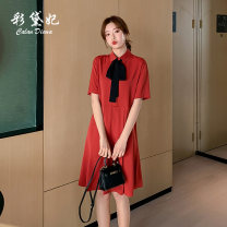 Dress Spring 2020 S M L XL XXL Mid length dress singleton  Short sleeve commute Polo collar High waist Solid color Socket other 25-29 years old Caidaifei Korean version More than 95% polyester fiber Polyester 100%