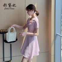Dress Summer 2020 Pink yellow S M L XL XXL Short skirt singleton  Short sleeve commute High waist lattice 25-29 years old Caidaifei Korean version L1414RX 71% (inclusive) - 80% (inclusive) polyester fiber Polyester 73% cotton 21.3% viscose 5.7%