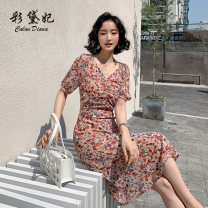 Dress Summer 2020 Pink S M L XL XXL Mid length dress singleton  elbow sleeve commute V-neck High waist Decor Socket 25-29 years old Caidaifei Korean version L1456RX More than 95% polyester fiber Polyester 100%