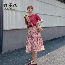skirt Summer 2020 S M L XL XXL gules Mid length dress commute High waist Decor 25-29 years old More than 95% Caidaifei polyester fiber Korean version Polyester 100%