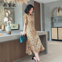 Dress Summer 2020 golden S M L XL XXL Mid length dress singleton  elbow sleeve commute High waist Decor Socket 25-29 years old Caidaifei Korean version L1482RX-1 More than 95% polyester fiber Polyester 100%