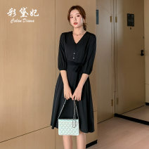 Dress Spring 2020 S M L XL XXL Mid length dress singleton  commute High waist Solid color 25-29 years old Caidaifei Korean version L1362RX More than 95% polyester fiber Polyester 100%