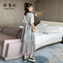 Dress Summer of 2019 Grey black S M L XL XXL Mid length dress singleton  commute Others 25-29 years old Caidaifei Korean version 91% (inclusive) - 95% (inclusive) cotton Cotton 94% polyurethane elastic fiber (spandex) 6%
