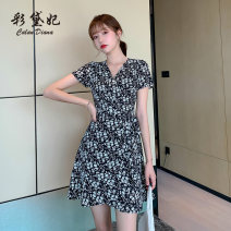 Dress Summer 2020 black S M L XL XXL Short skirt singleton  Short sleeve commute V-neck Decor 25-29 years old Caidaifei Korean version More than 95% polyester fiber Polyester fiber 97.1% polyurethane elastic fiber (spandex) 2.9%