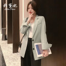 suit Spring 2020 Black blue gray skin pink card, its color is bean green S M L XL XXL Long sleeves Medium length easy tailored collar Single breasted routine Solid color 869RX 25-29 years old 81% (inclusive) - 90% (inclusive) polyester fiber Caidaifei